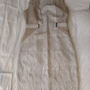 Tan & White Safari / Plant Calvin Klein Dress